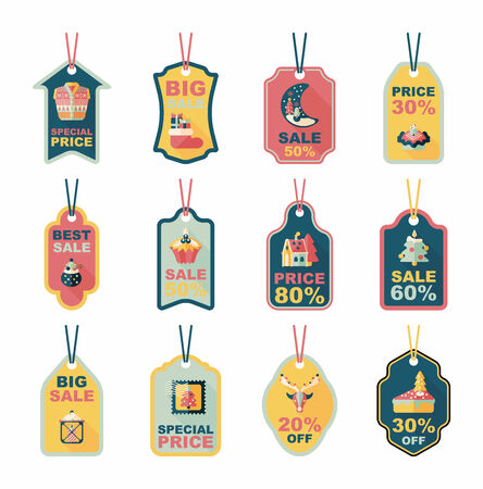 Christmas tag flat banner background set,eps10 Vector