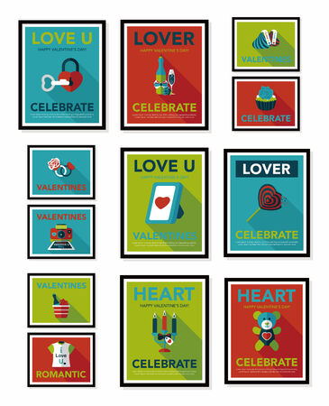 valentino: Valentine's Day poster flat banner design flat background set, eps10 Illustration