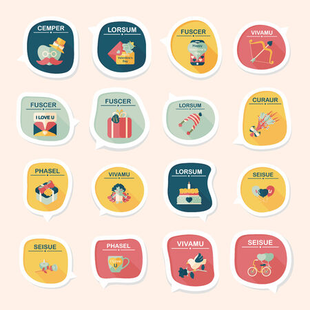 14 feb: Valentine's Day speech bubble banner flat design background set, eps10