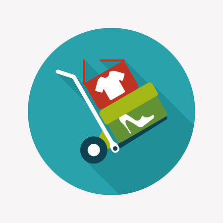 shoppingcart: shopping handling trolley flat icon with long shadow,eps10 Illustration