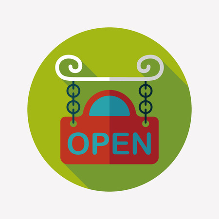 shopsign: shopping store sign flat icon with long shadow,eps10
