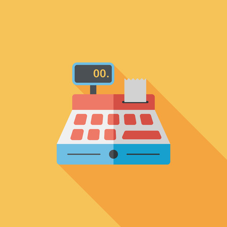 shopping cash register flat icon with long shadow,eps10