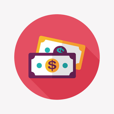 paper currency: shopping money cash flat icon with long shadow,eps10 Illustration