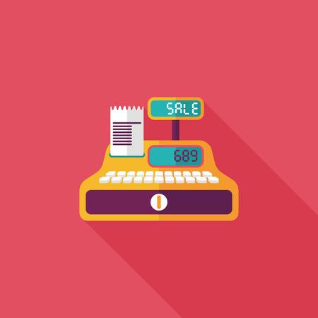 maquina registradora: icono plana compras caja registradora con una larga sombra, eps10