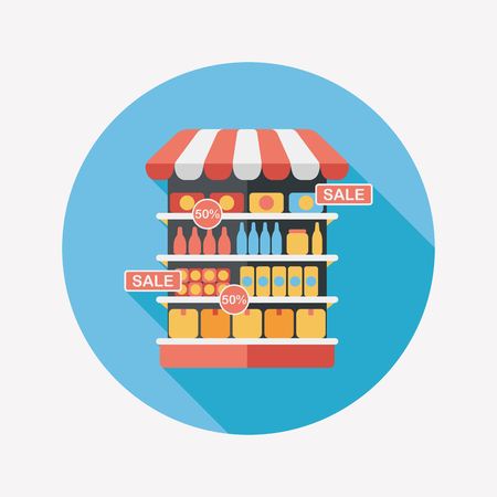 groceries: shopping grocery store flat icon with long shadow,eps10 Illustration