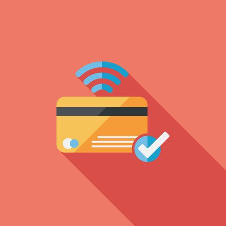 creditcard: tarjeta de cr�dito de compras icono plana con una larga sombra, eps10