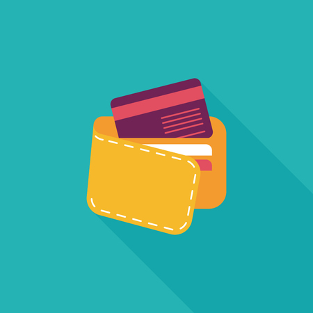shopping wallet flat icon with long shadow,eps10 Illustration