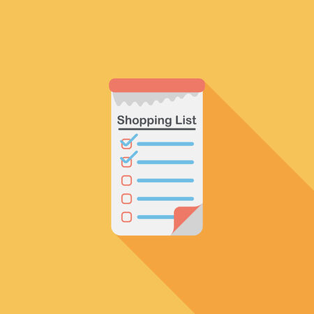 shopping list: shopping list flat icon with long shadow,eps10