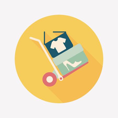 shoppingcart: shopping handling trolley flat icon with long shadow,eps10 Illustration