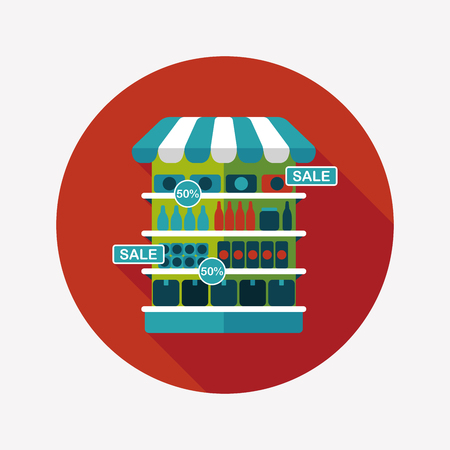 multiple choice: shopping grocery store flat icon with long shadow,eps10 Illustration