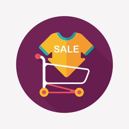 sale sign: shopping sale sign board and cart flat icon with long shadow,eps10
