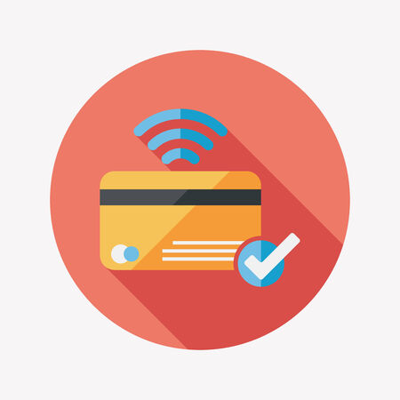 bank statement: shopping credit card flat icon with long shadow,eps10 Illustration