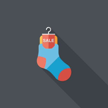 cheaper: shopping sale socks flat icon with long shadow,eps10