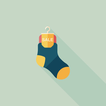 long socks: shopping sale socks flat icon with long shadow,eps10