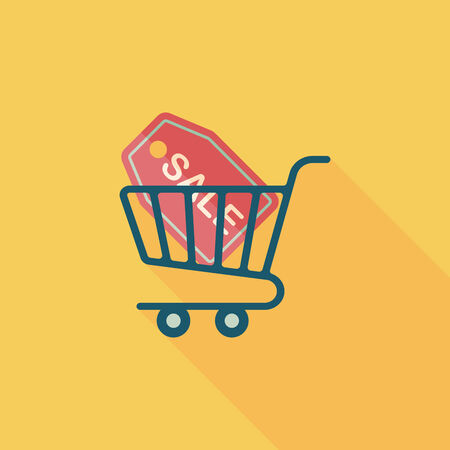 shopping trolley: shopping cart flat icon with long shadow,eps10