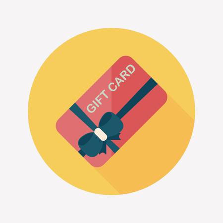winkelen gift card vlakke icoon met lange schaduw, eps10