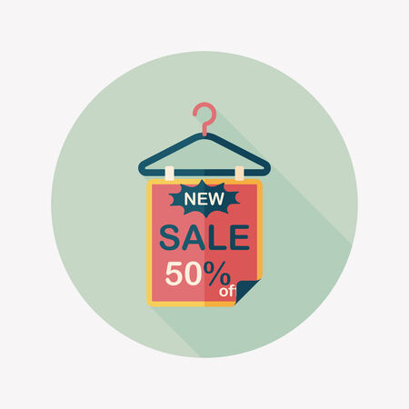 sale sign: shopping sale sign flag flat icon with long shadow,eps10