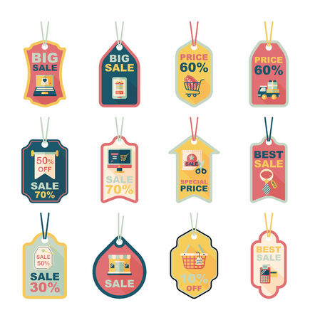 shopping tag banner flat design background set, eps10 Vector