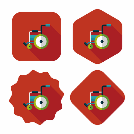 Wheelchair flat icon with long shadow,eps10