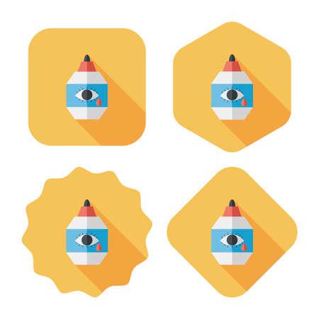 eyedropper: Eye Drop flat icon with long shadow,eps10