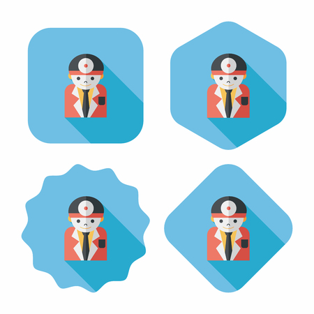 surgical nurse: medical people with stethoscopes flat icon with long shadow,eps10
