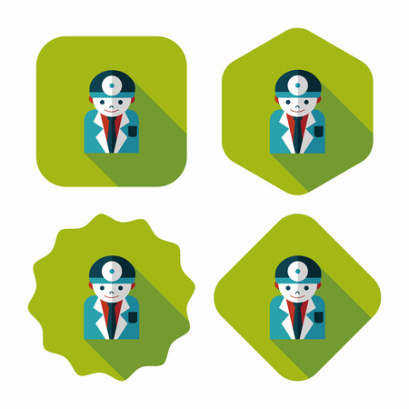 surgeon mask: m�dico con estetoscopio icono plana con larga sombra, eps10