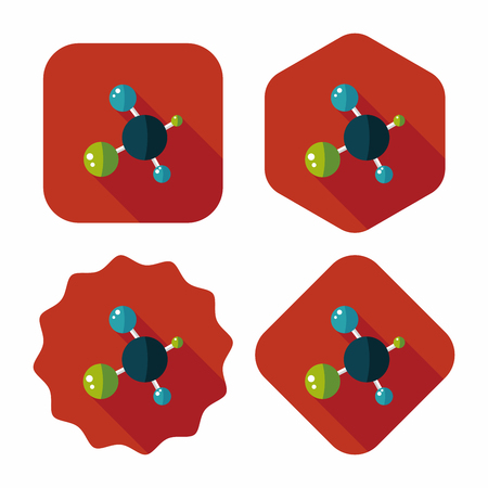 molecular biology: Molecule flat icon with long shadow,eps10