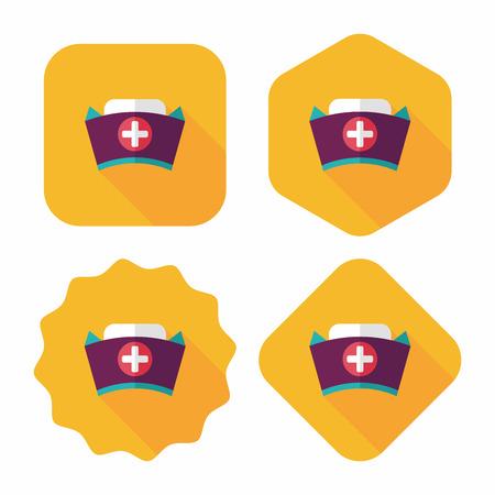 nursing uniforms: icono plana sombrero de enfermera con una larga sombra, eps10 Vectores