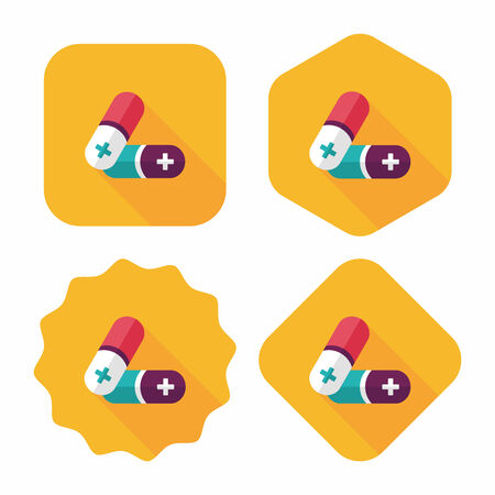 painkiller: Pills flat icon with long shadow,eps10