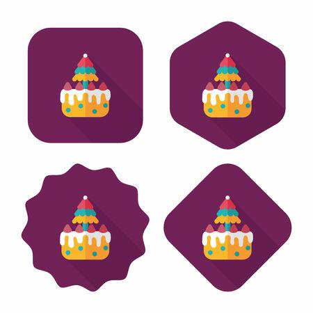 gateau de noel: G�teau de No�l ic�ne plat avec ombre, eps10