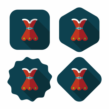 hubcap: Christmas costume flat icon with long shadow, eps10