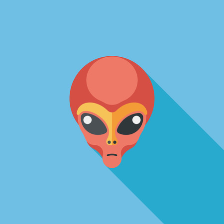 cartoon space: Space alien flat icon with long shadow,eps10 Illustration