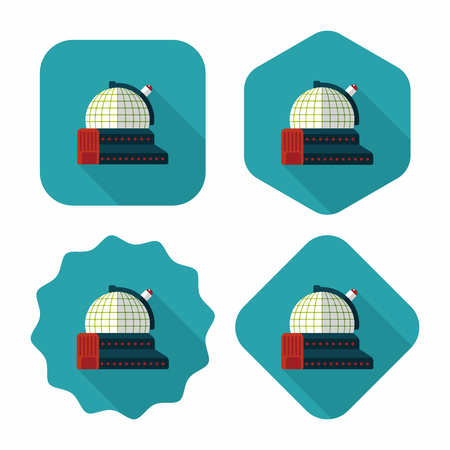 astrophysics: Space astronomical observatory flat icon with long shadow,eps10