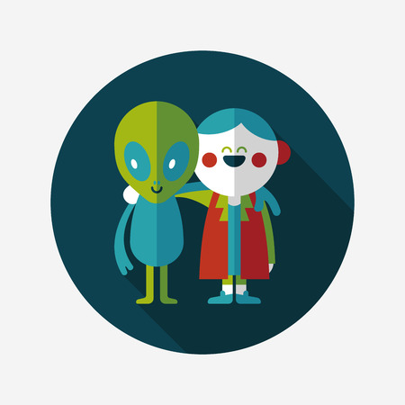 Space alien friendship flat icon with long shadow,eps10 Vector