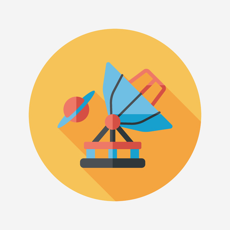 Space Telescope flat icon with long shadow,eps10 Vector