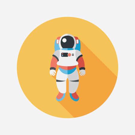 astronaut: Espacio Astronauta icono plana con una larga sombra, eps10