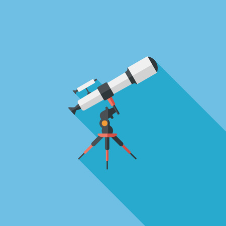 telescope: Space Telescope flat icon with long shadow,eps10 Illustration