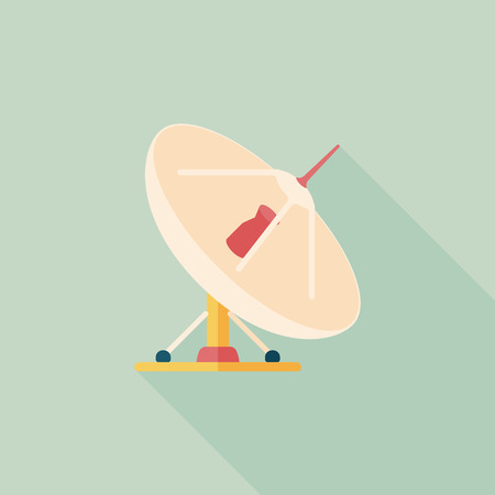 Space Satellite flat icon with long shadow,eps10 Vector