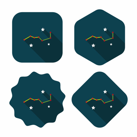 ursa: Space dipper flat icon with long shadow,eps10