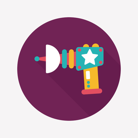 Space gun flat icon with long shadow,eps10