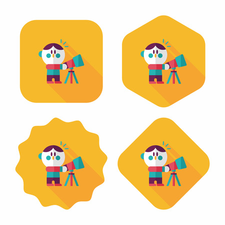 Space boy and telescope flat icon with long shadow,eps10 Vector