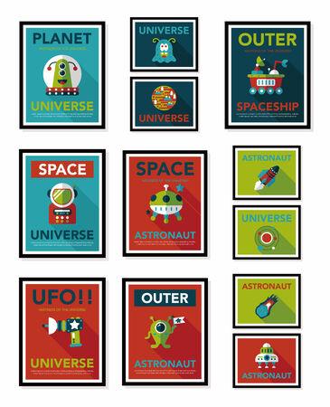 Space poster banner flat design background set, eps10