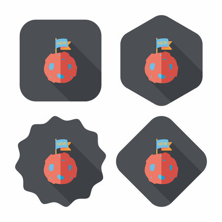 Space planet flat icon with long shadow,eps10 Vector