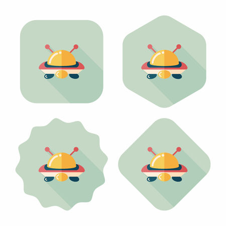 invaders: Space UFO flat icon with long shadow, eps10