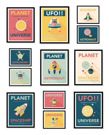 Space poster banner flat design background set, eps10
