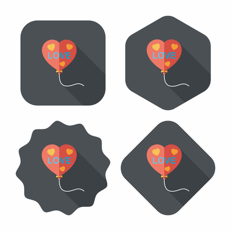 gas ball: love balloons flat icon with long shadow,eps10 Illustration