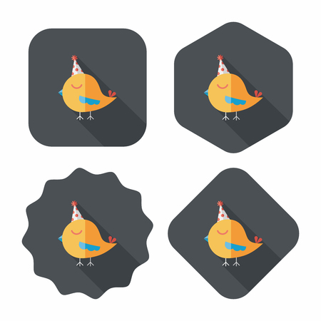 bird with birthday hat flat icon with long shadow,eps10 Vector