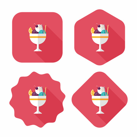 sweet sauce: ice cream flat icon with long shadow
