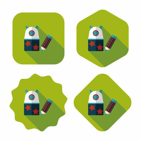 box cutter: Icono plana sacapuntas con larga sombra Vectores