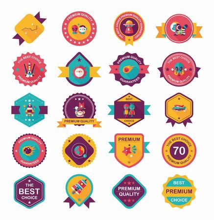 Space badge banner flat design background set Vector